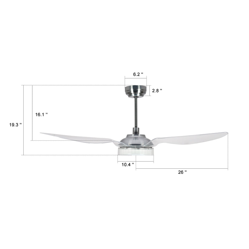 Icebreaker 52'' 3-Blade Smart Ceiling Fan with LED Light Kit & Remote - Silver/Clear