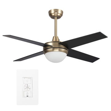 Nova 48'' Smart Ceiling Fan With LED Light Kit-Gold base with black blades