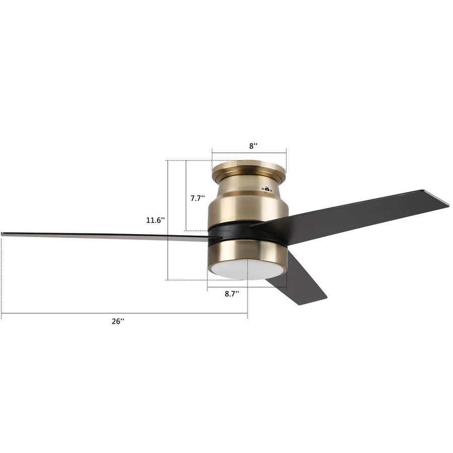Carro Home Ranger 52'' 3-Blade Flush Mount Smart Ceiling Fan With LED Light Kit - Gold Case Black Fan Blades