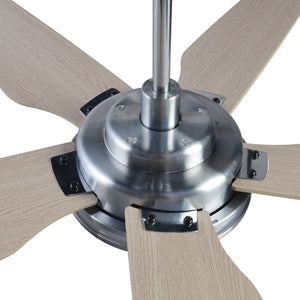 Explorer 52'' 5-Blade Smart Ceiling Fan with LED Light Kit & Remote - Silver/Light Wood