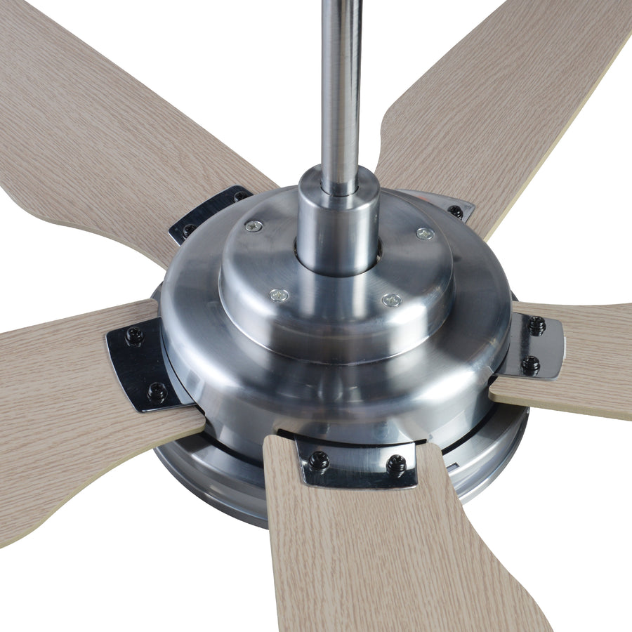 Carro Explorer 52'' 5-Blade Smart Ceiling Fan with LED Light Kit & Remote - Silver Case and Light Wood Fan Blades