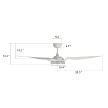 Load image into Gallery viewer, Icebreaker 56'' 3-Blade Smart Ceiling Fan with LED Light Kit & Remote - White/White (Set of 2)