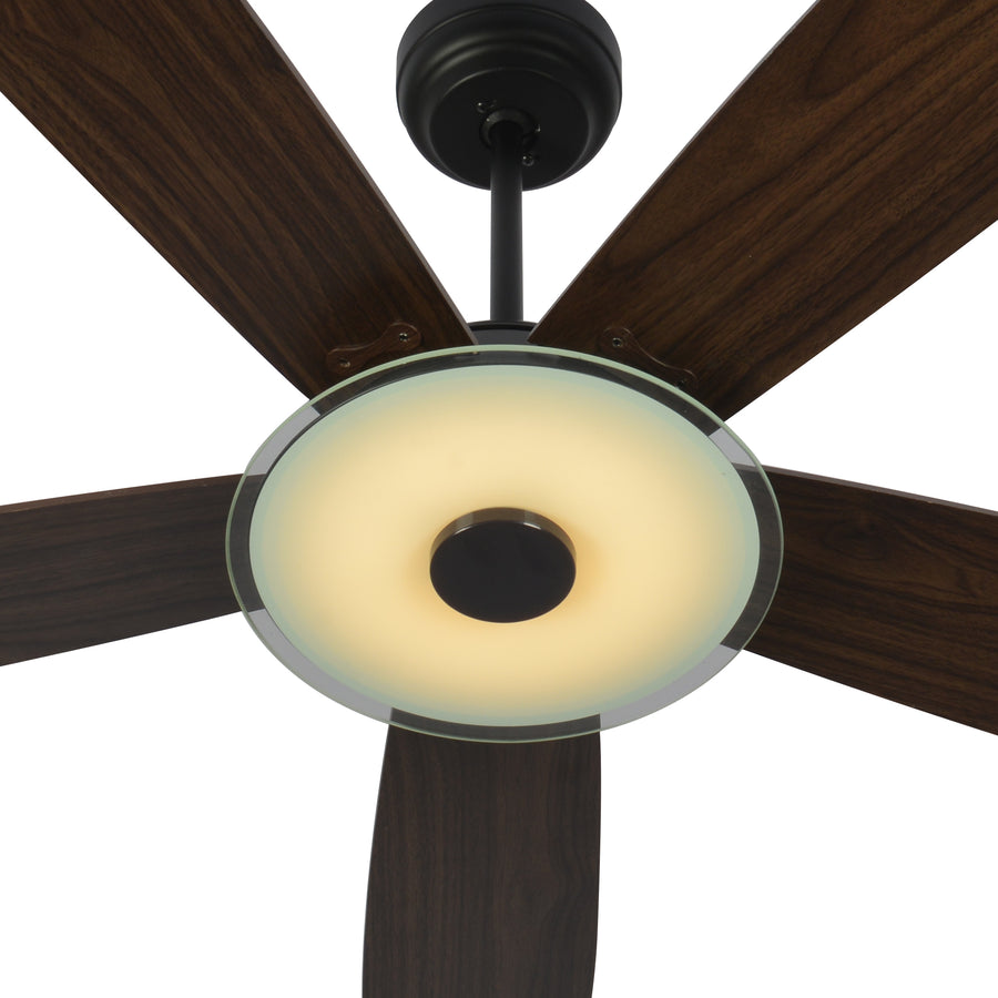 Carro Home Striker 56'' 5-Blade Smart Ceiling Fan with LED Light Kit & Remote - Black Case and Dark Wood Fan Blades