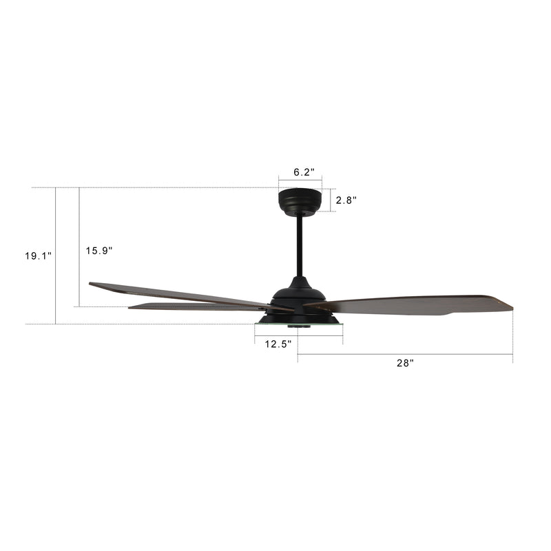 Striker 56'' 5-Blade Smart Ceiling Fan with LED Light Kit & Remote - Black/Dark Wood Grain