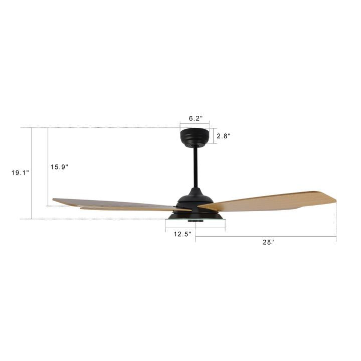 Carro Home Striker 56'' 5-Blade Smart Ceiling Fan with LED Light Kit & Remote - Black Case and Fine Wood Grain Fan Blades