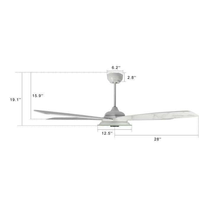 Carro Home Striker 56'' 5-Blade Smart Ceiling Fan with LED Light Kit & Remote - White Case and White Marble Pattern Fan Blades