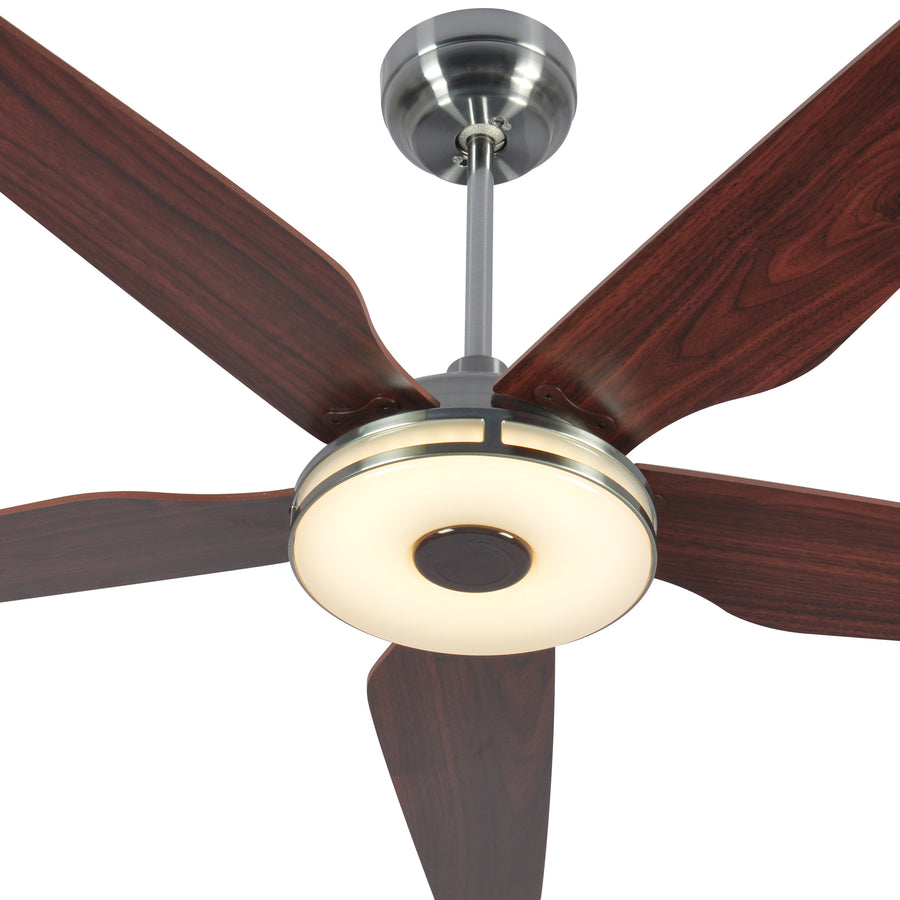 Carro Explorer 56'' 5-Blade Smart Ceiling Fan with LED Light Kit & Remote - Silver Case and Wood Grain Fan Blades