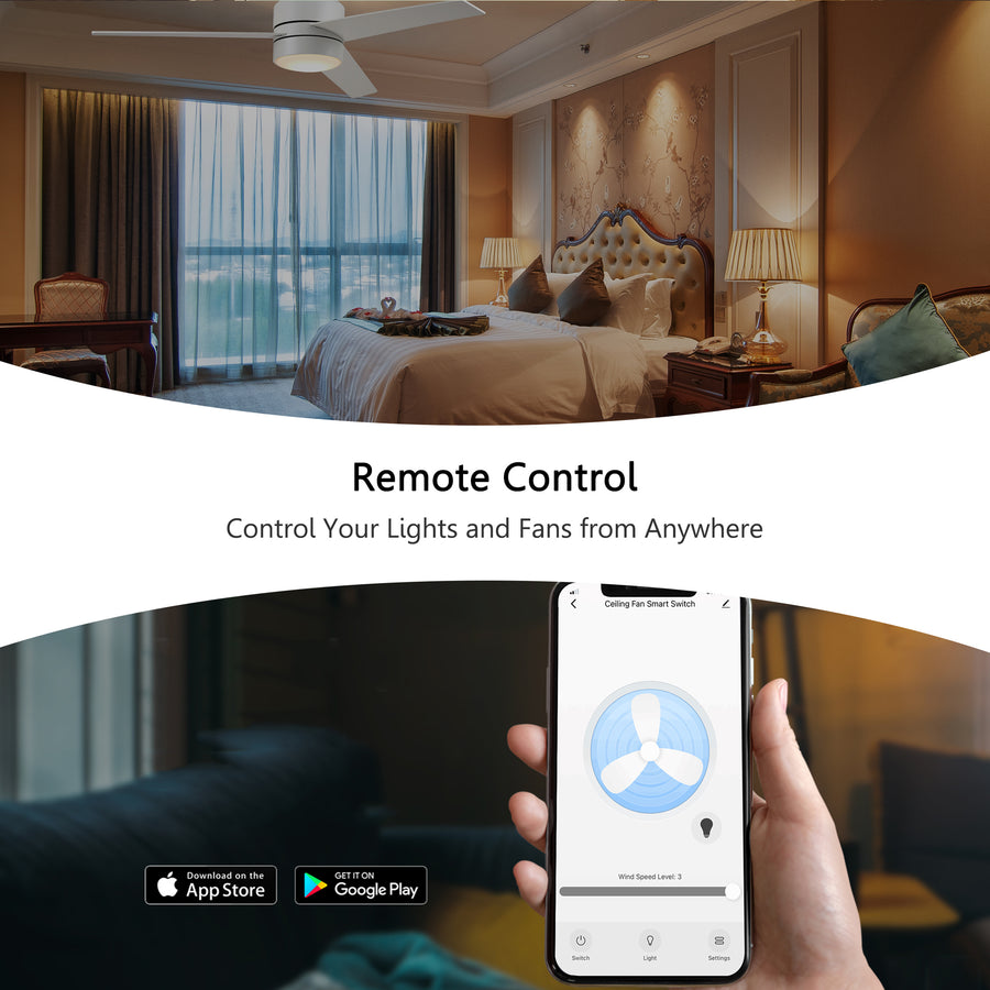 Carro Home Smart Wall Switch Controller for Ceiling Fans (2 Gang)