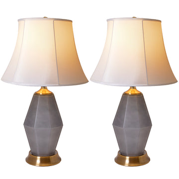 Diamond Faceted Frosted Glass Table Lamp 24