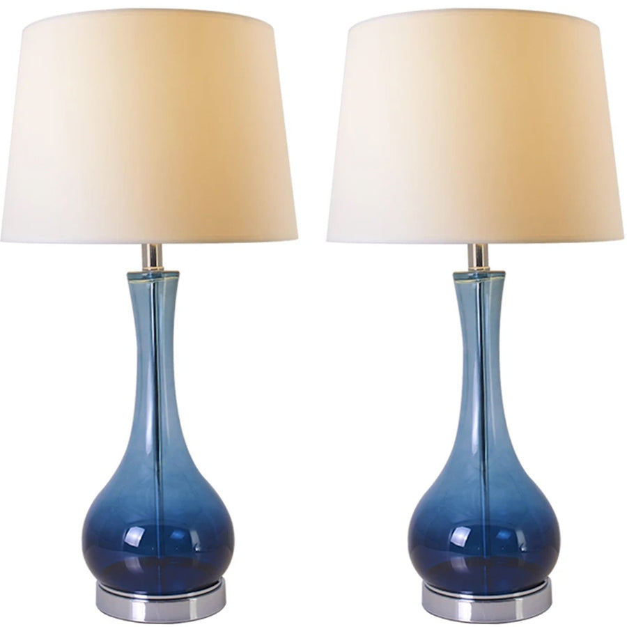 Carro Home Jasmine Blue Ombre Glass Table Lamp 28