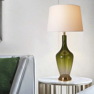 "Carro Home Carnation Translucent Glass Table Lamp 31"" - Green Ombre/White Shade (Set of 2)"