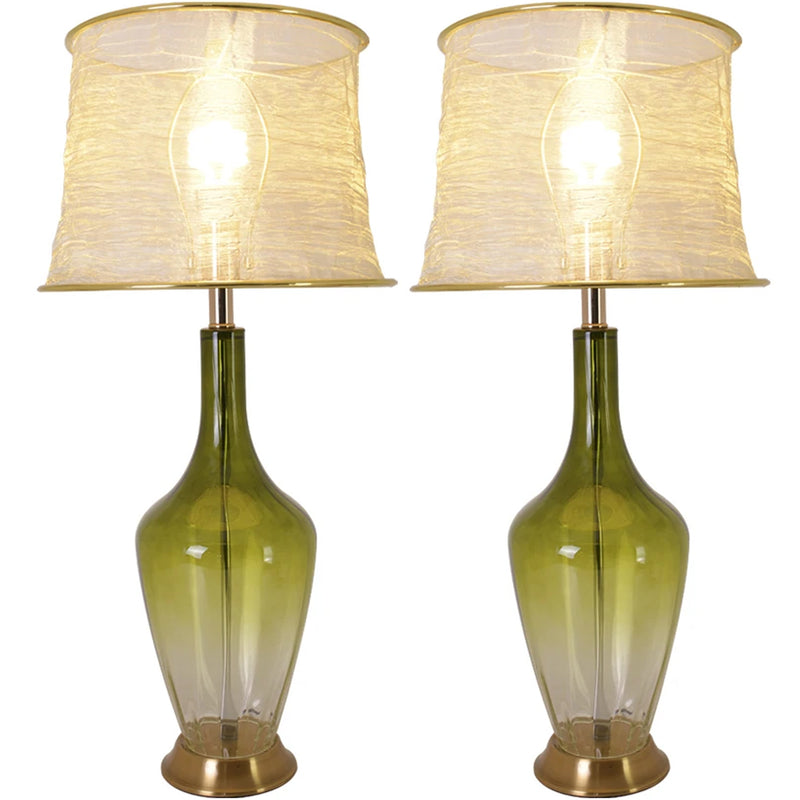 "Carro Home Carnation Translucent Glass Table Lamp 31"" - Green Ombre/Golden Yarn Shade (Set of 2)"
