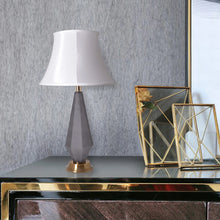 "Load image into Gallery viewer, Carro Home Diamond Faceted Frosted Glass Table Lamp 27"" - Gray/Off White"