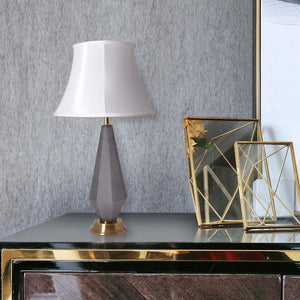 "Carro Home Diamond Faceted Frosted Glass Table Lamp 27"" - Gray/Off White"