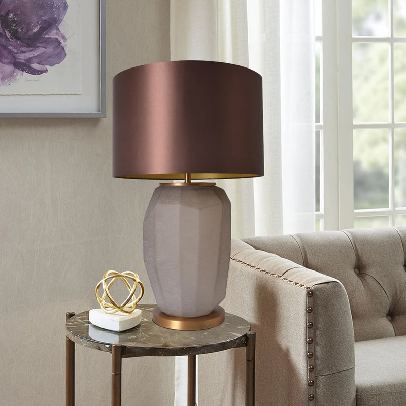 "Carro Home Iris Sculpted Glass Table Lamp 30"" - Spiced Apricot/Chocolate Brown"