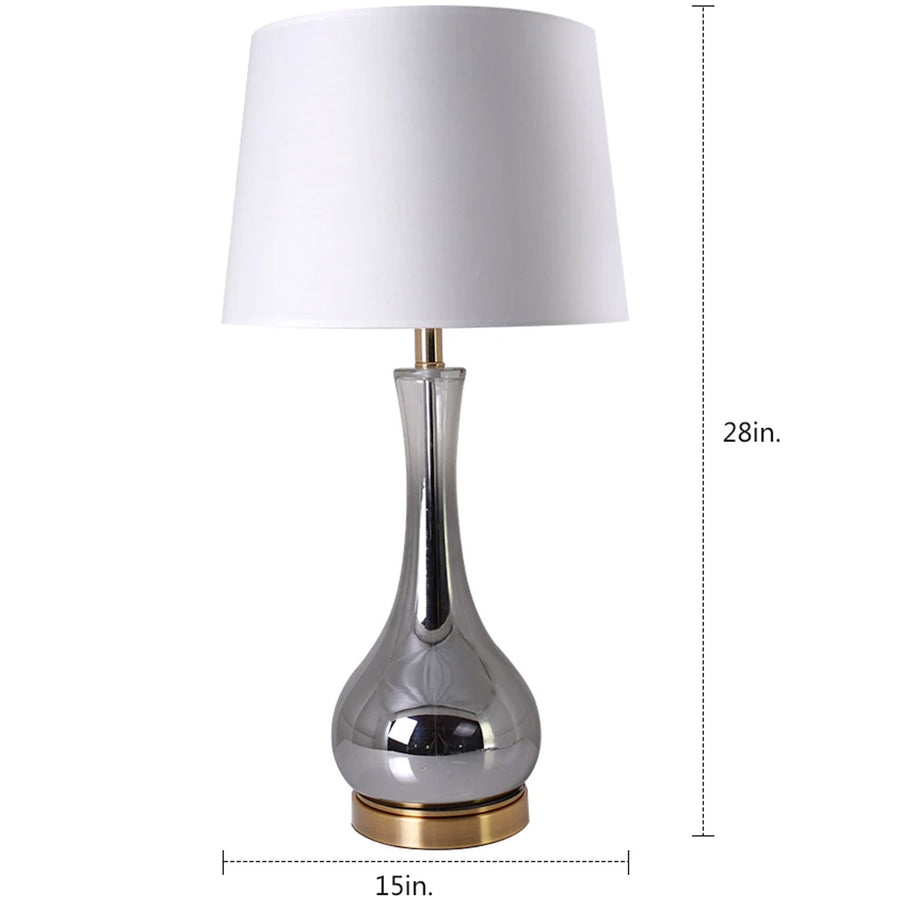 Carro Home Jasmine Chrome Gray Ombre Glass Table Lamp 28