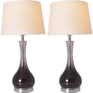 "Carro Home Jasmine Smoke Gray Ombre Glass Table Lamp 28"" - Smoke Gray/White (Set of 2)"