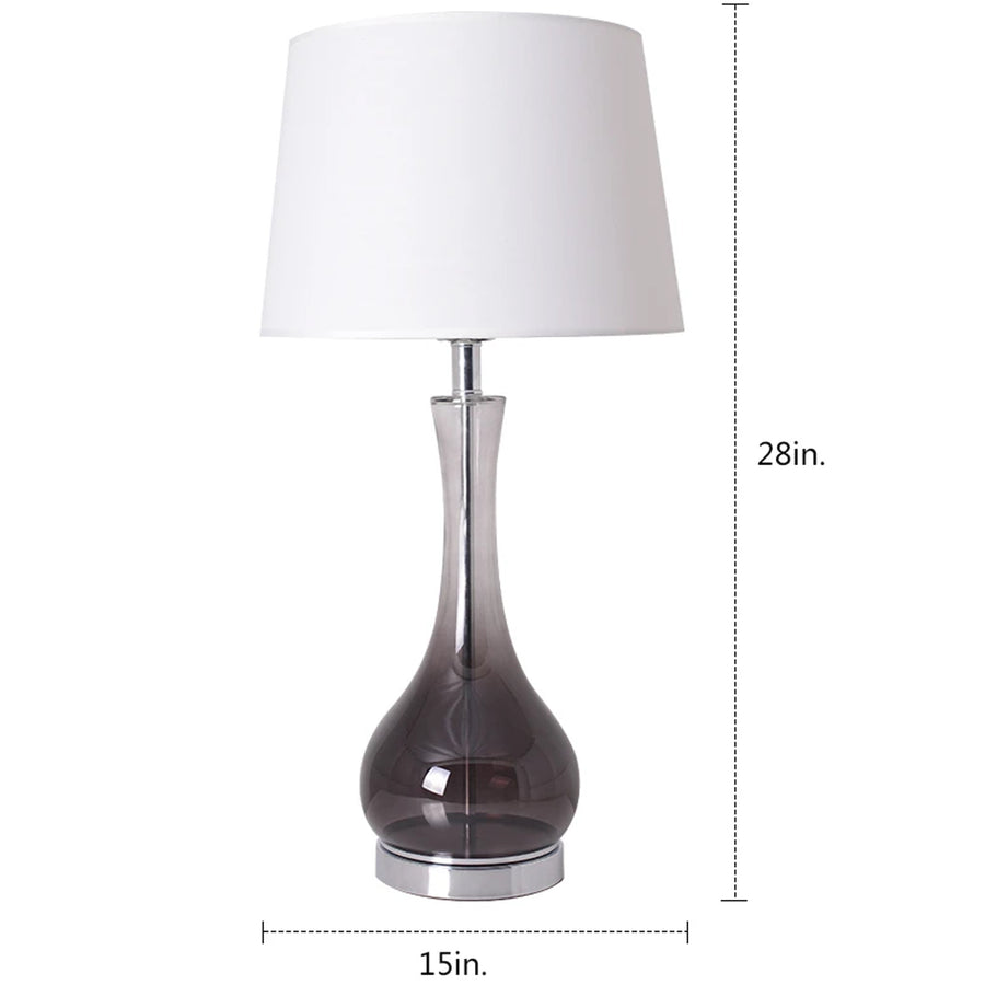 Carro Home Jasmine Smoke Gray Ombre Glass Table Lamp 28