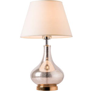 "Carro Home Lotus Little Gold Mercury Glass Table Lamp 24"" - Gold Mercury/Ivory White"