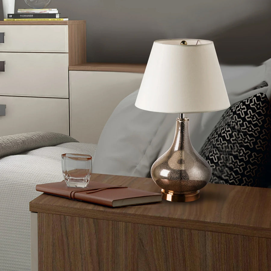 Carro Home Lotus Little Gold Mercury Glass Table Lamp 24
