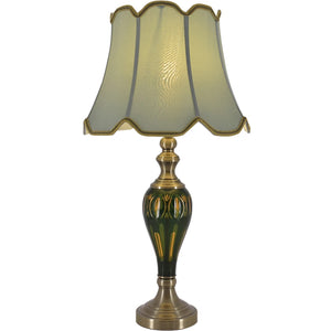 "Carro Home Petunia Art Deco Fluted Glass Table Lamp 28"" - Emerald Green/Light Green"