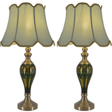 "Load image into Gallery viewer, Carro Home Petunia Art Deco Fluted Glass Table Lamp 28"" - Emerald Green/Light Green (Set of 2)"