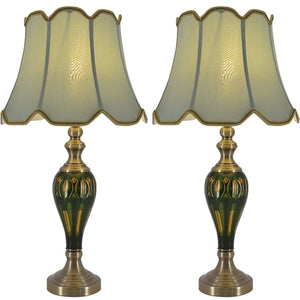 "Carro Home Petunia Art Deco Fluted Glass Table Lamp 28"" - Emerald Green/Light Green (Set of 2)"