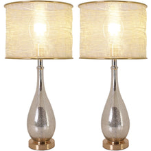 "Load image into Gallery viewer, Carro Home Tulip Little Mercury Droplet Glass Table Lamp 28"" - Gold Mercury/Golden Yarn Shade (Set of 2)"