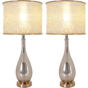 "Carro Home Tulip Little Mercury Droplet Glass Table Lamp 28"" - Gold Mercury/Golden Yarn Shade (Set of 2)"