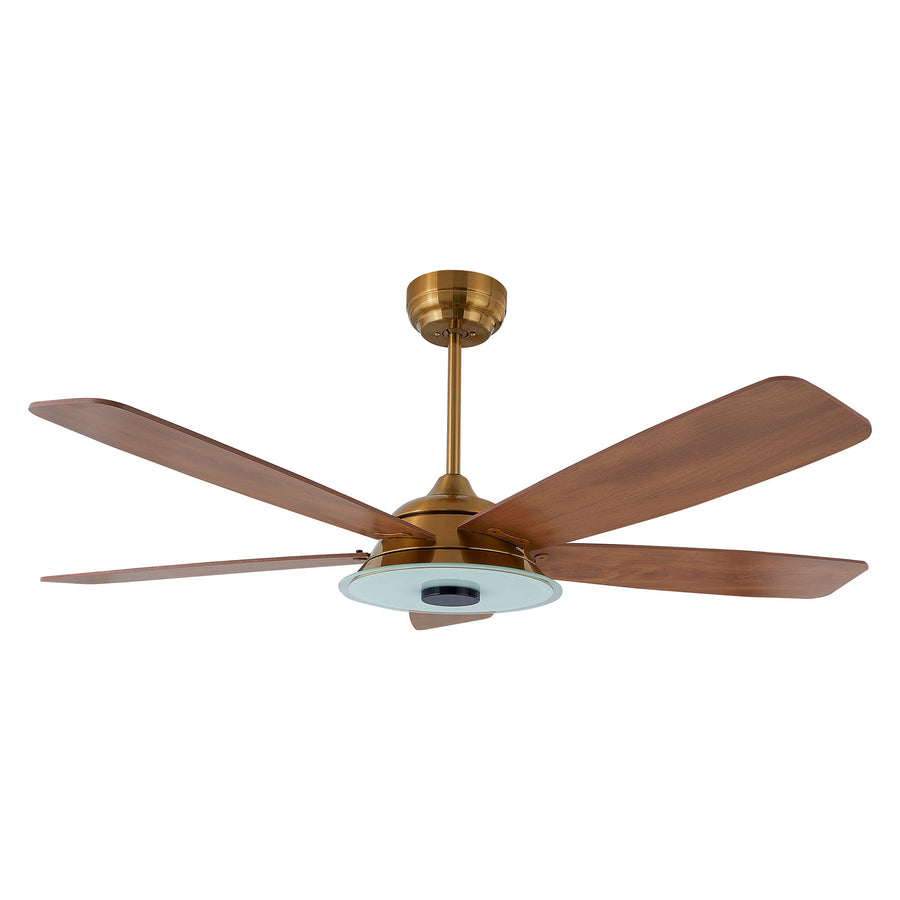 Carro Home Striker 56'' 5-Blade Smart Ceiling Fan with LED Light Kit & Remote - Gold Case and Fine Wood Fan Blades