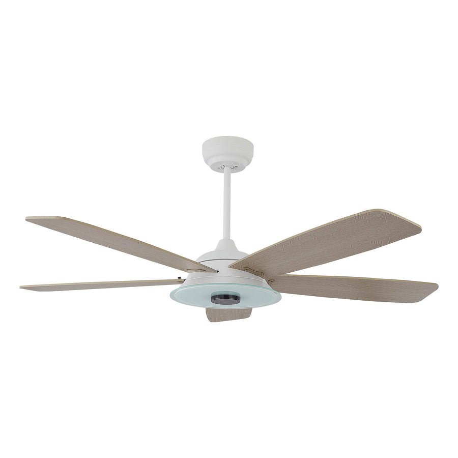 Carro Home Striker 56'' 5-Blade Smart Ceiling Fan with LED Light Kit & Remote - White Case and Light Wood Fan Blades