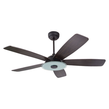 Striker Outdoor 56'' Smart Ceiling Fan with LED Light Kit-Black base with dark wood grain blades