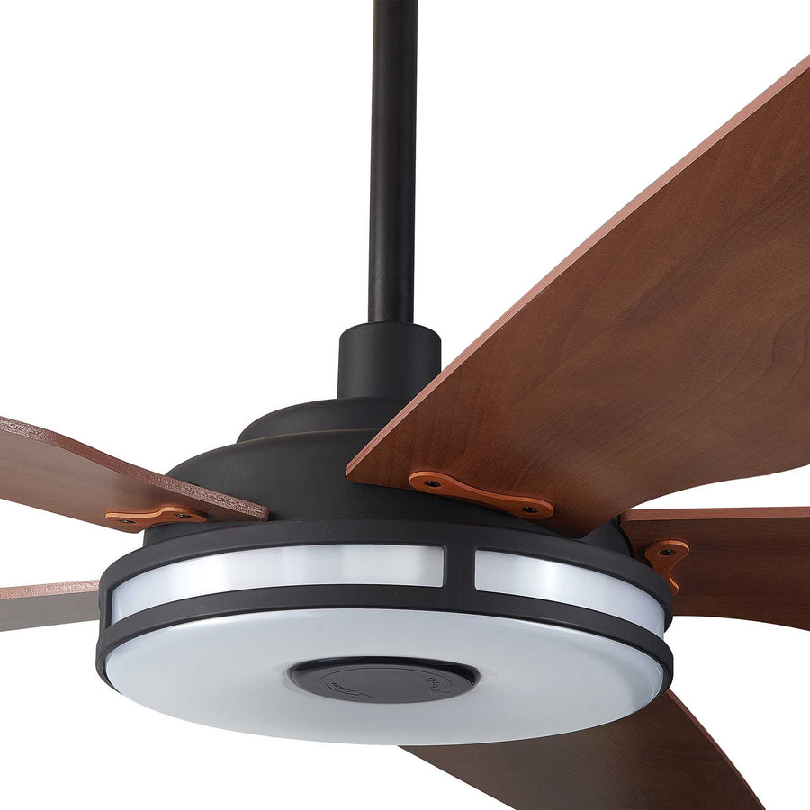 Carro Explorer 56'' 5-Blade Smart Ceiling Fan with LED Light Kit & Remote - Black Case and Wood Grain Fan Blades