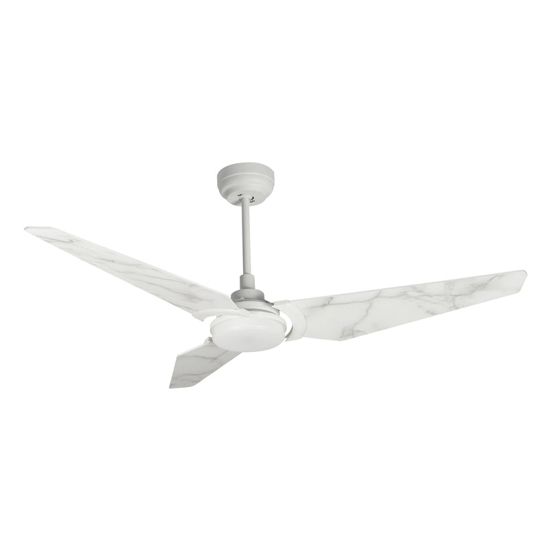 "Trailblazer 56"" 3-Blade Smart Ceiling Fan with LED Light Kit & Remote-White/Marble Pattern"