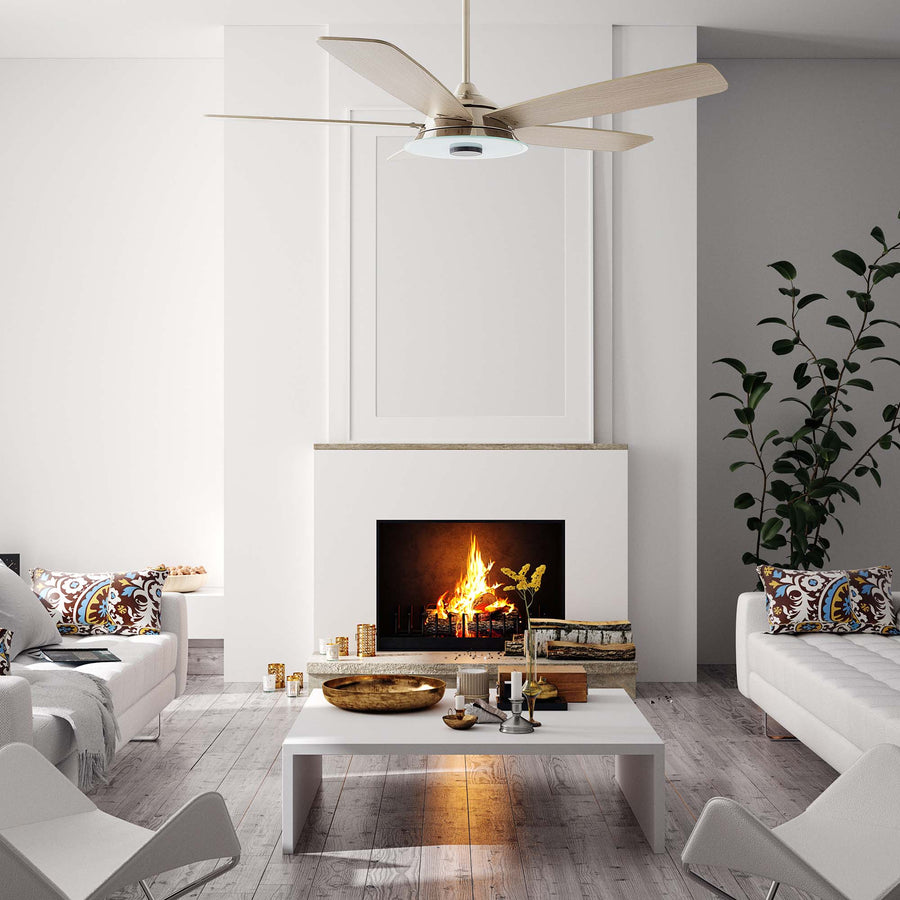 Carro Home Striker 56'' 5-Blade Smart Ceiling Fan with LED Light Kit & Remote - Silver Case and Light Wood Grain Fan Blades