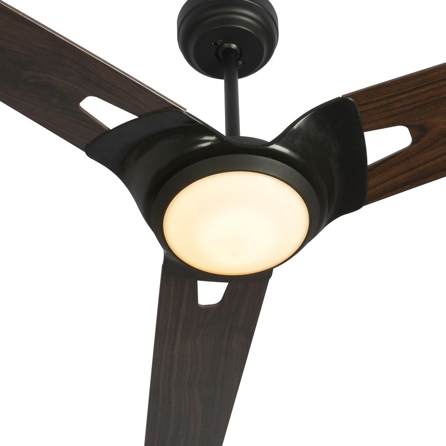 Carro Home Innovator 52'' 3-Blade Smart Ceiling Fan with LED Light Kit & Remote - Black case and wood grain Pattern Fan Blades