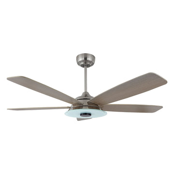 Striker Outdoor 52'' Smart Ceiling Fan with LED Light Kit-Silver base with light wood grain blades