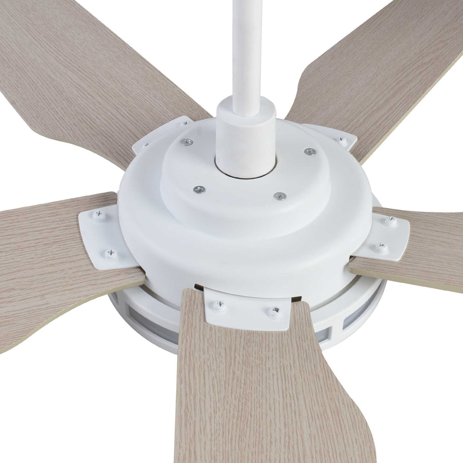 Carro Explorer 56'' 5-Blade Smart Ceiling Fan with LED Light Kit & Remote - White Case and Fine Wood Fan Blades