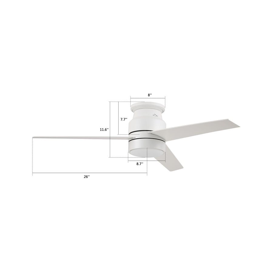 Ranger 52'' Flush Mount Smart Ceiling Fan With LED Light Kit