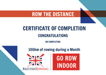 Load image into Gallery viewer, 100km in a Month British Rowing Monthly Challenge