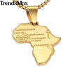 Trendsmax Africa Map Gold Pendant Necklace for Men Women Fashion African Map Pendant Hip Hop Dropshipping Jewelry Ethiopian GP56