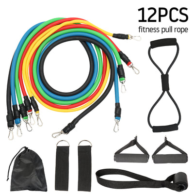 12pcs Pull Rope Fitness Resistance Bands Set