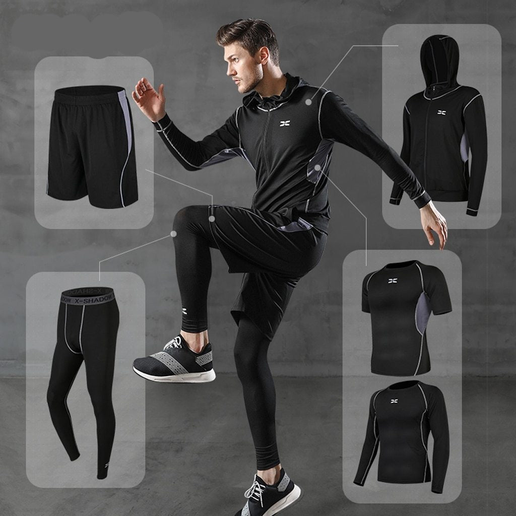 REXCHI 5 Pcs/Set Men's Tracksuit