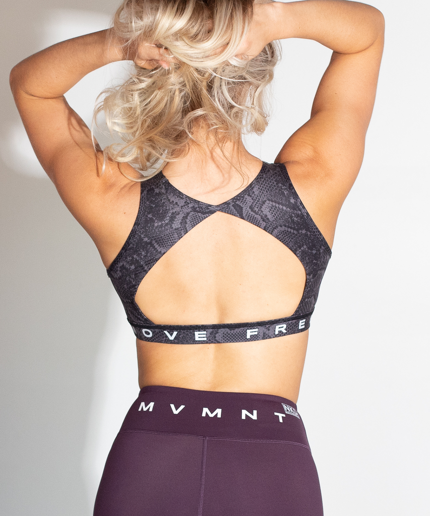 Slate Python Open Back MOVE FREE Sports Bra