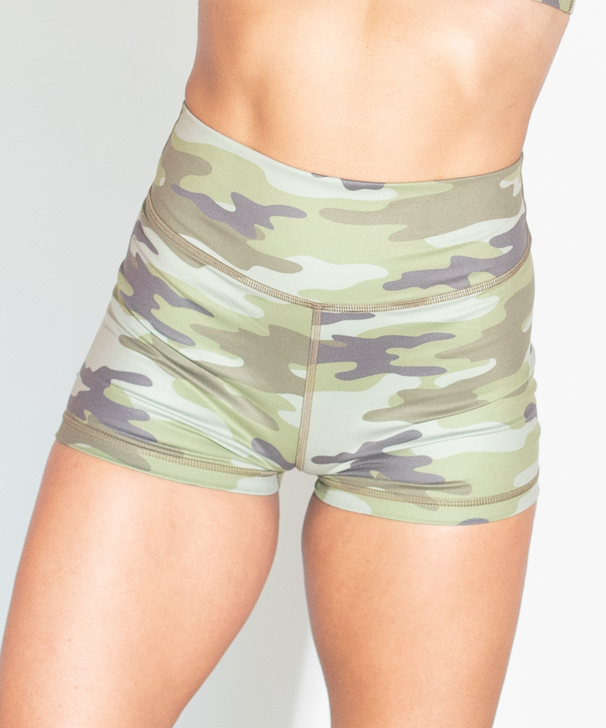 Sage Army Print Ruched Booty Shorts