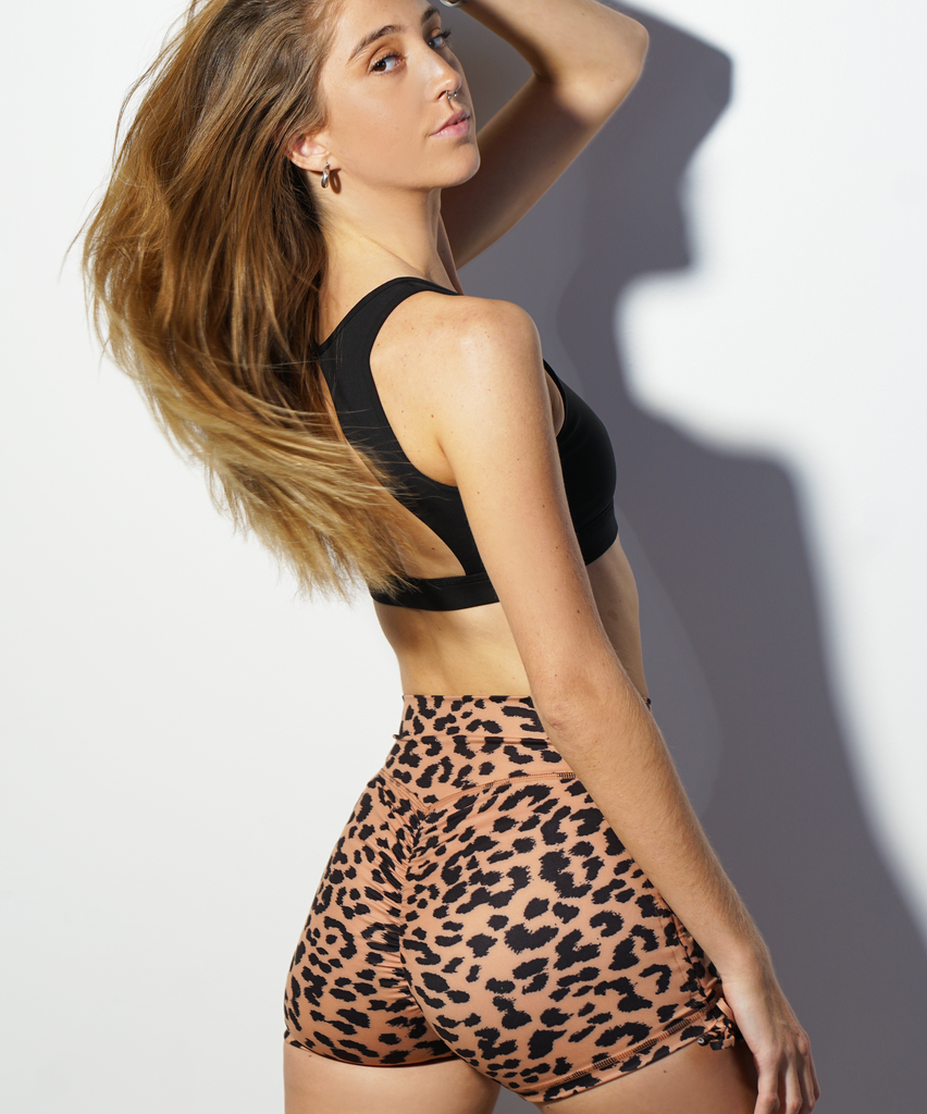 Tan Leopard High Waisted Side Tie Ruched Shorts