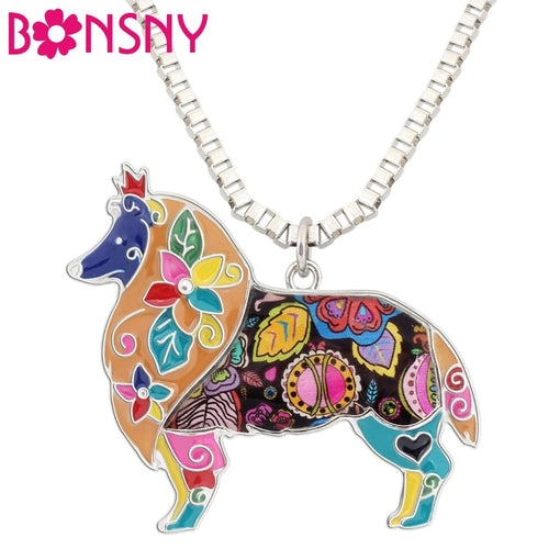 BONSNY Sheltie Pendant Necklace