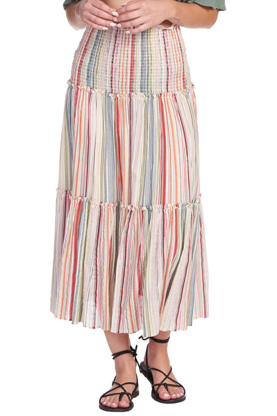Tiered striped maxi skirt