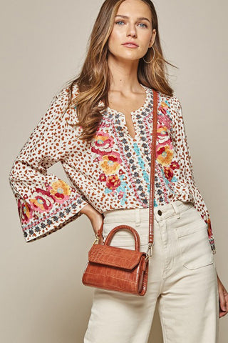Floral Embroidery Woven Blouse