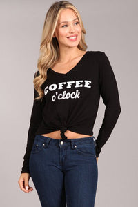 """coffee o'clock"" tshirt"